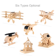 Wooden Solar Energy Powered 3D Wooden Airplane Room Car Decoration Solar Power Plane Toys for Kids Children's Educational Toy(China)