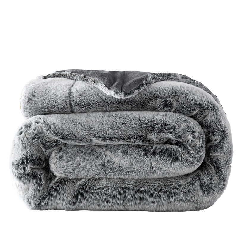 Fluffy Rabbit Fur Plush Blanket Chunky Warm Sofa Plaid Twin Full Size Soft Cobertor Mink Throw Couch Chair Bed Blankets