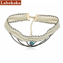 Labekaka 2017 Fashion Choker Necklace  Blue Heart Crystal  Channel Micro bomb Rope Chain Costume Jewelry punk style