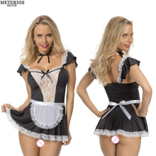 Buy new women sexy lingerie hot lace French Maid lingerie+thong+collar cosplay sexy costume perspective lace erotic Lingerie 412