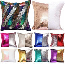 1Pcs 40*40cm Reversible Sequin Mermaid Throw Pillow Cushion Cover Car Home Decoration Sofa Bed Decor Decorative Pillowcase 40043
