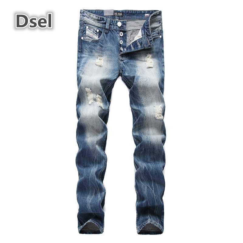 DSEL Brand ripped jeans for men hot sale high quality slim straight men jeans size 29 to 40 fashion blue bikers jeans 964GОдежда и ак�е��уары<br><br><br>Aliexpress