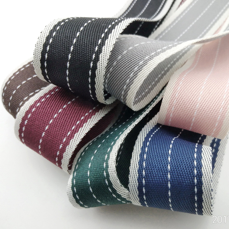5meter/lot 25mm Korean New Double-Sided Polyester Cotton Striped Dress Headwear Ribbon Material blue ribbon T-017