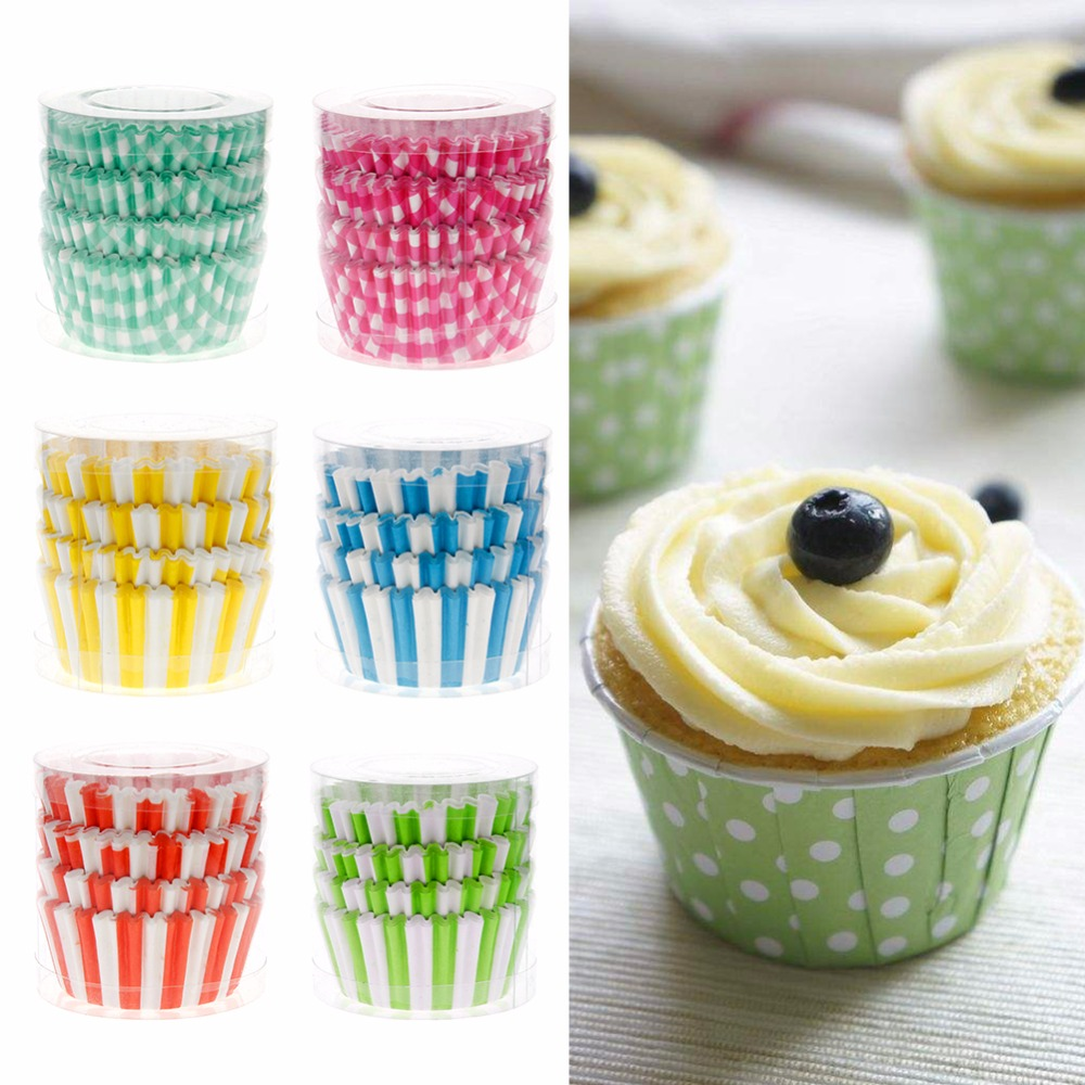 "100 x 2/"" Colorful Paper Cupcake Cases Wrapper Muffin Mold Liners Baking Cups"