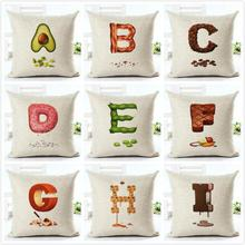Creative Fruit Cushion Food Donut Coffee Beans Chili Noodles Orange Watermelon Avocado Honey 26 Letter Decor Pillow For Home(China)