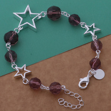 Fashion Crystal Bracelet Silver Star&Purple Small Ball Chain Bracelet For Women AB197