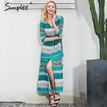 Simplee Sexy split boho paisley print dress Women vintage strappy long dress Summer causal maxi beach dress vestidos 2016(China)