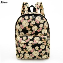 Women's Famous Brands Girls Canvas Backpack 2017 Printing Bell Flower Girl Backpack Schoolbags Students Bag Mochila Feminina(China)