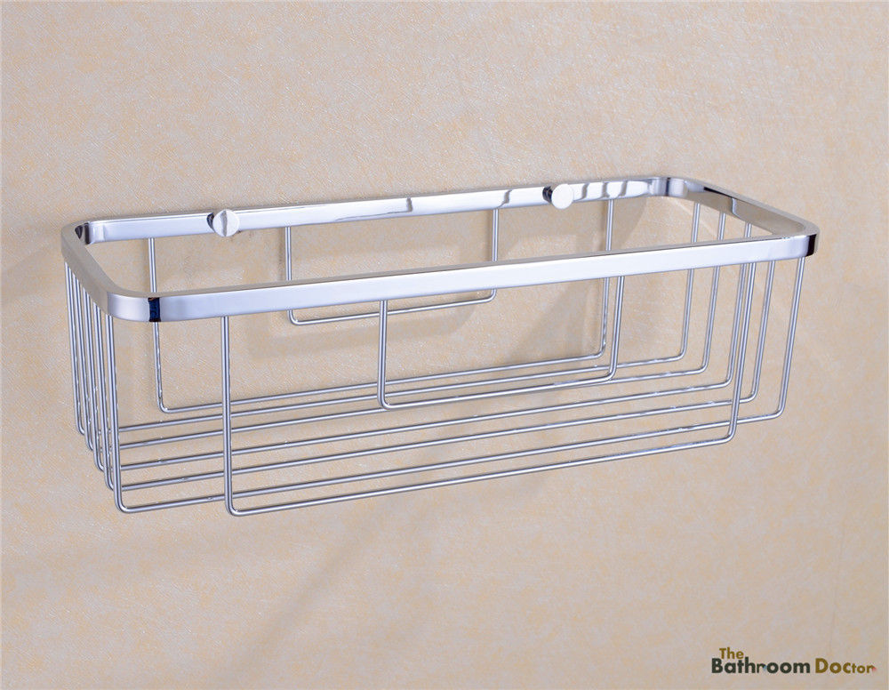 Bathroom Single Tier Stainless Steel Shelf Shower Basket Holder Commodity Shelf 09-001<br>