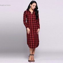 Alishebuy Long Sleeve Turn-down Collar Casual Shirt Dress Checks Print Women Cotton A-line Midi Long Spring Autumn Dresses