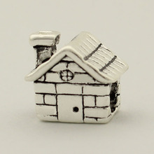 Free shipping  charm beads retro house suitable for Pandora bracelets holiday gif