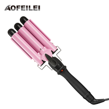 Professional 110-220v Hair Curling Iron Ceramic Triple Barrel Hair Curler Deep Pearl Waving Curly Styling Tool Splint Wave Wand(China)