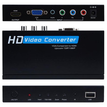 2017 New Arrivals VGA/component to HDMI Upscaler 720p/1080p HD video Converter Adapter+Remote Control Free Shipping NOM24