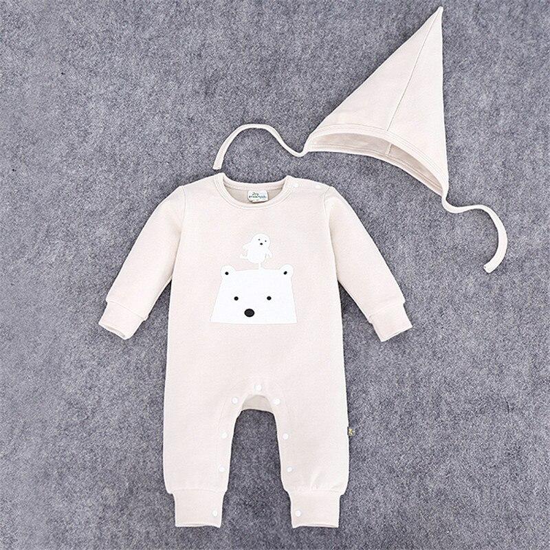 2-Piece Set Autumn Winter Baby Combed Cotton Jumpsuits Boy Girl Hat Clothes Infantil Romper Newborn Coveralls Next Rompers<br><br>Aliexpress