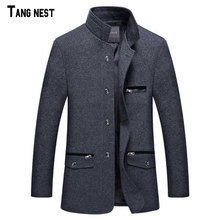 TANGNEST 2017 New Arrival Men's Fashion Winter Single Breasted Blazer Suit Male Slim Fit New Collar Design Suit MWX125(China)