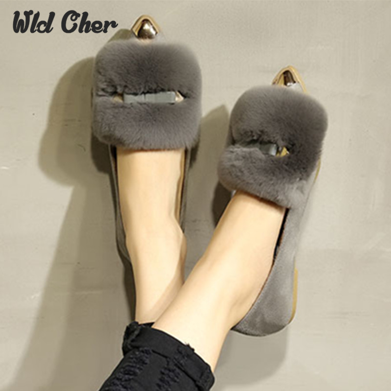 New Winter Women Flats Shoes Real Rabbit Fur Shoes Woman Fashion Thickening Warm Slippers for Womens Shoes Casual Loafers 43<br>
