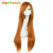 MapofBeauty Orange black blue brown blonde red 15colors Long Straight Cosplay Wigs 80cm Party Heat Resistant synthetic full Hair