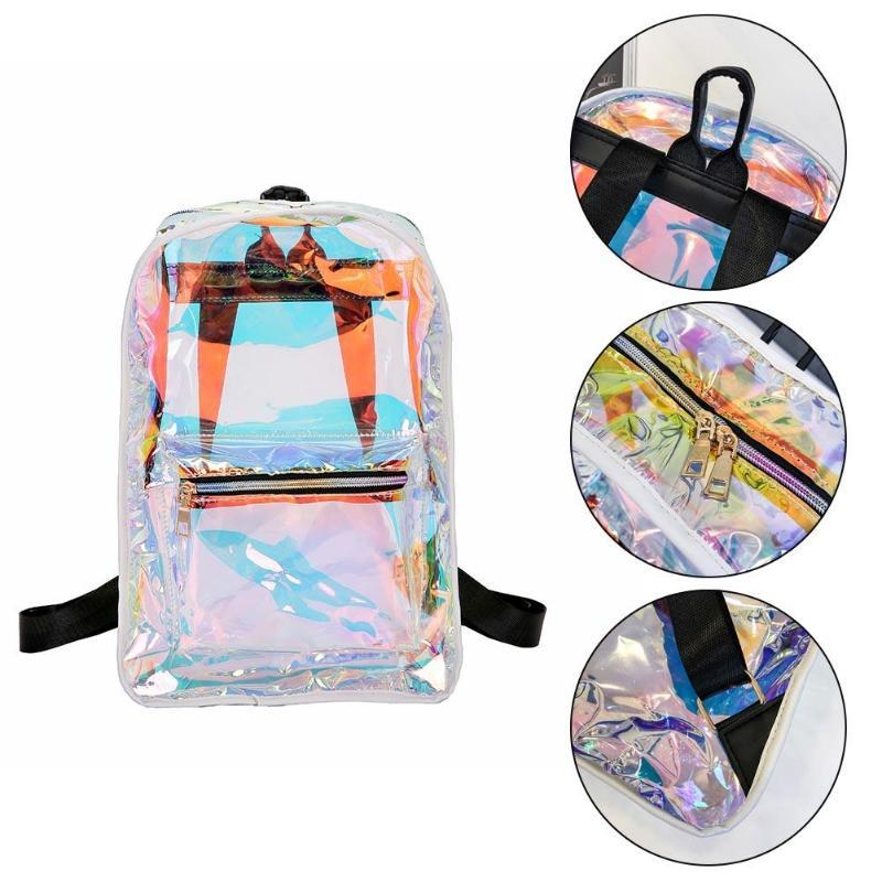 Street Style Women PVC Transparent Laser Hologram Backpack Girls Casual  Zipper Shoulder Bags Features: Exquisite design: generous, simple fashion.