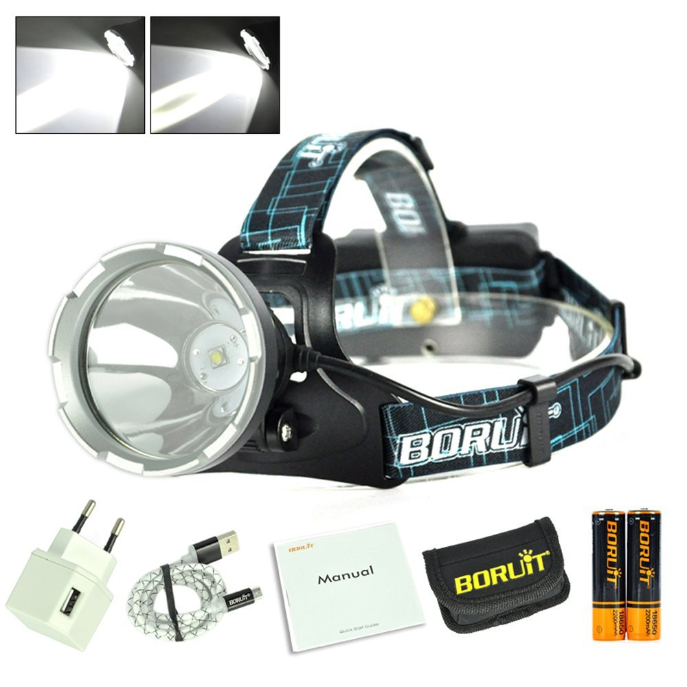 LED Headlamp 3 Modes Rechargeable USB Headlight CREE XM-L L2 White Light Head Lamp Light For Camping Hiking18650 battery Charger<br>