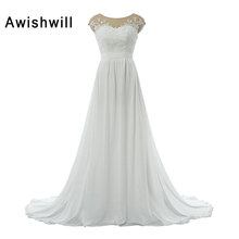 Buy Real Picture Boho Wedding Dresses Cheap Cap Sleeve Lace Appliques Chiffon See Back Beach Bridal Dress Wedding Gowns for $144.54 in AliExpress store