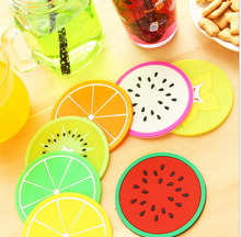 DHL Free shipping 200 PCS Colorful Jelly Color Fruit Shape Coasters Creative Skid Insulation Silica Gel Cup Mat(China)
