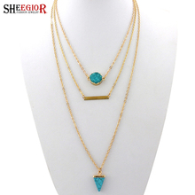 SHEEGIOR Bohemian Gold Chains Multilayer Choker Necklace Women Triangle Turquoises Pendants Long Necklaces Fashion Jewelry Gifts