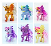 6pieces 14cm very cute horse Twilight Sparkle Rainbow Dash Apple Jack Rarity Fluttershy Pinkie Pie pvc toy(China)