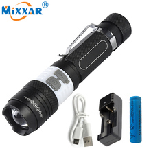 RU Portable 4000LM CREE XM-L T6 COB LED Flashlight 6 Mode Torch Rechargeable 18650 Battery Camping Lamp Lanterna USB charger(China)