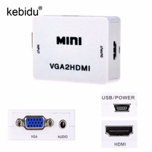 Kebidu Mini VGA to HDMI HD 1080P VGA to HDMI Converter With Audio Adapter Connector For Projector PC Laptop