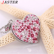 JASTER Diamond crystal heart USB Flash drive Love heart Necklace Memory Stick Pen Drive pendrive 4GB/8GB/16GB/32GB