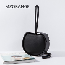 MZORANGE New 2017 Genuine leather women Handbag Simple Small Bags Tote Independent design Fashion round package Lady Clutch bags