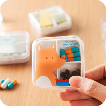 2 Sizes Portable Mini Cartoon Plastic Pill Box Medicine Case For Healthy Care Empty Drugs Box For False Eyelashes