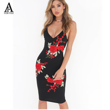 2017 Summer dresses Sexy strap neck women dress red flower backless embroidery sheath dresses vestidos tube beach dress black