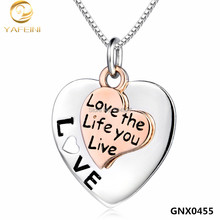 2016 Fashion Message Necklace Love the Life you Live 925 Sterling Silver Pendant Necklace Christmas Gift Jewelry GNX0455(China)