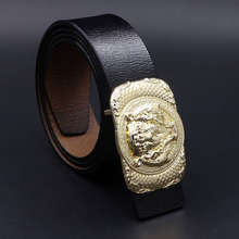 2017 Gold Silver Tiger Buckle Genuine Leather Men Belt Business Casaul Male Jeans Belts Waistband Black Brown Coffee MS1230