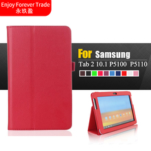 Folio PU Leather Stand Case Cover For Samsung Galaxy Tab 2 10.1 P5100 P5110 P7500 P7510 Tablet PC protective holster(China)