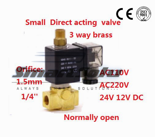 Free shipping  Normally open Direct acting Brass Small Gas Solenoid Electric 3 ways control valve 1/4BSP 110VAC 1.5mm NBR Seals<br><br>Aliexpress
