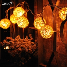ZINUO 4M 20pcs Christmas Garland Fairy Light Outdoor Rattan Ball Patio Light Holiday Globe Ball String Light For Party Wedding