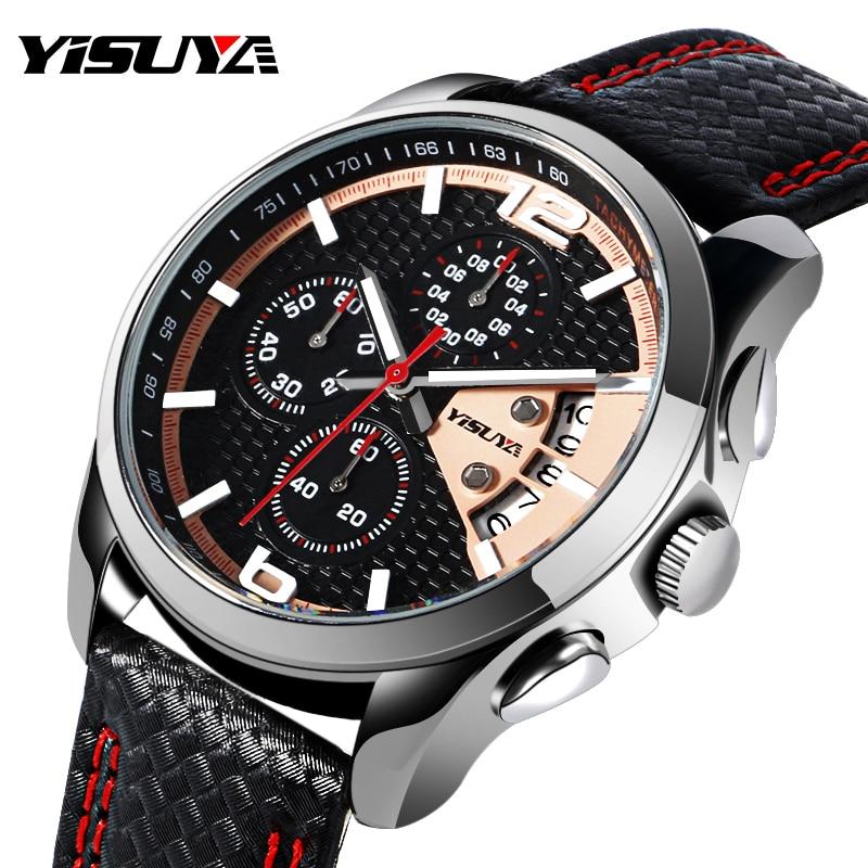 YISUYA Military Chronograph Date Day Sport Pilot Army Genuine Leather Band Calendar Quartz Men Business Wrist Watch Chronograph <br><br>Aliexpress