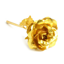 Gold Color Foil Rose Flower Valentine's Day Gift Gold Color Plated Flower For Marriage Proposal Showcase Counter Jewelry Display(China)