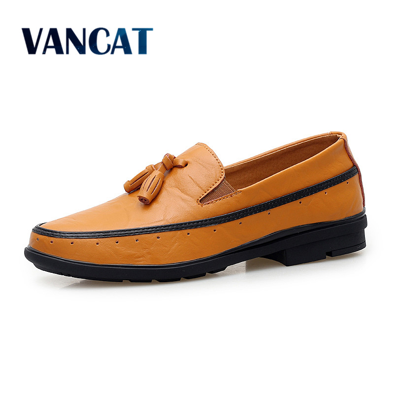VANCAT  Big Size Brand Men Shoes Fashion Breathable Slip On Tassel Men Loafers Italian Designer Male Shoes Tassel Flats Shoes<br>