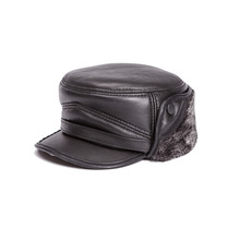 Buy High Genuine Leather hat genuine winter warm sheepskin hat baseball cap men black hats cotton Free for $19.59 in AliExpress store
