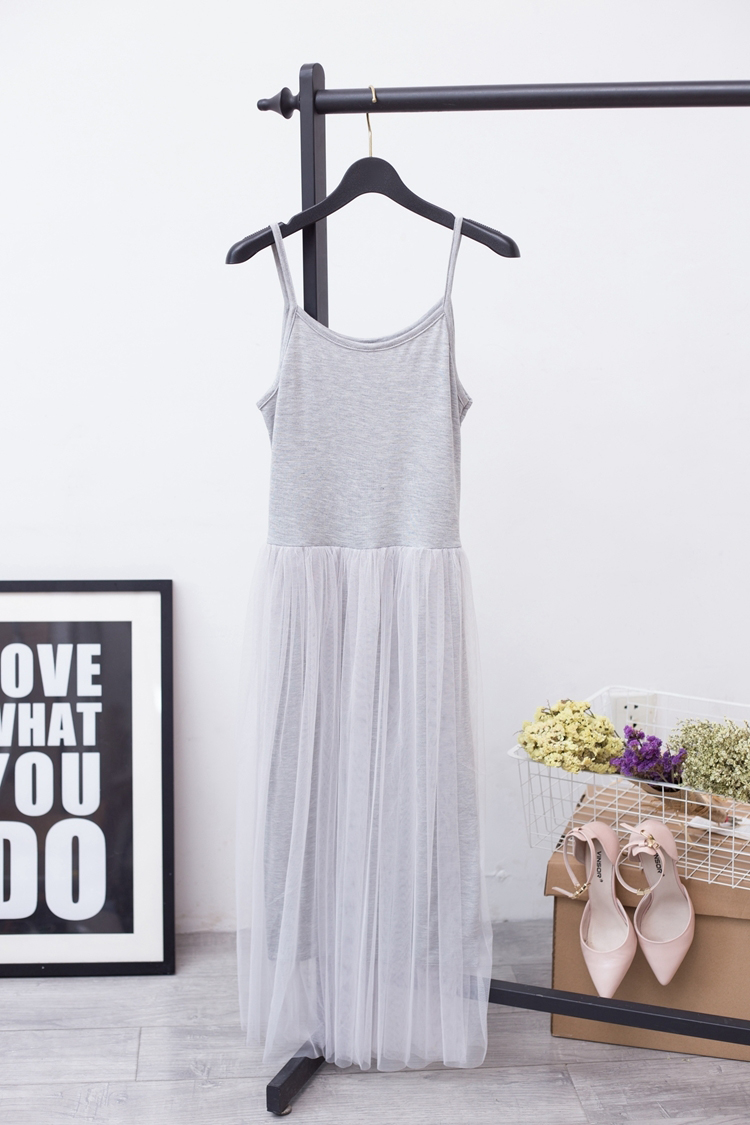 [EAM] 2017 Hot Fashion Pure Cotton Lace Split Joint Camisole Dress,5 colors available YD8100 5