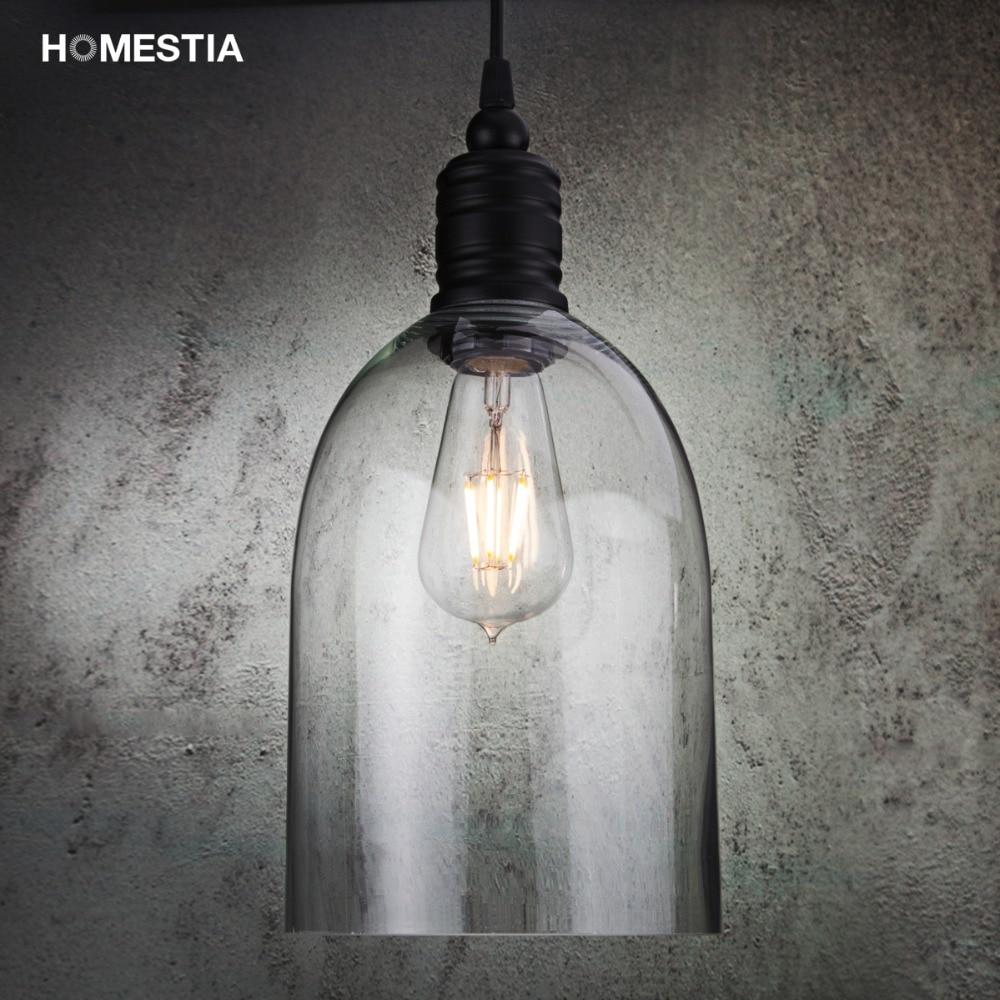 Homestia Glass Bell Pendant Lights  Vintage Transparent Pendant Lamps Room Cafe Art Deco Incandescent Bulbs 110V/220V E27 Bulbs<br><br>Aliexpress