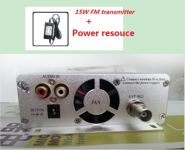 FM transmitter 15 watt FMU SER ST-15B stereo PLL broadcast radio with 76MHz-108MHz-100khz + POWER RESOUCE(China)