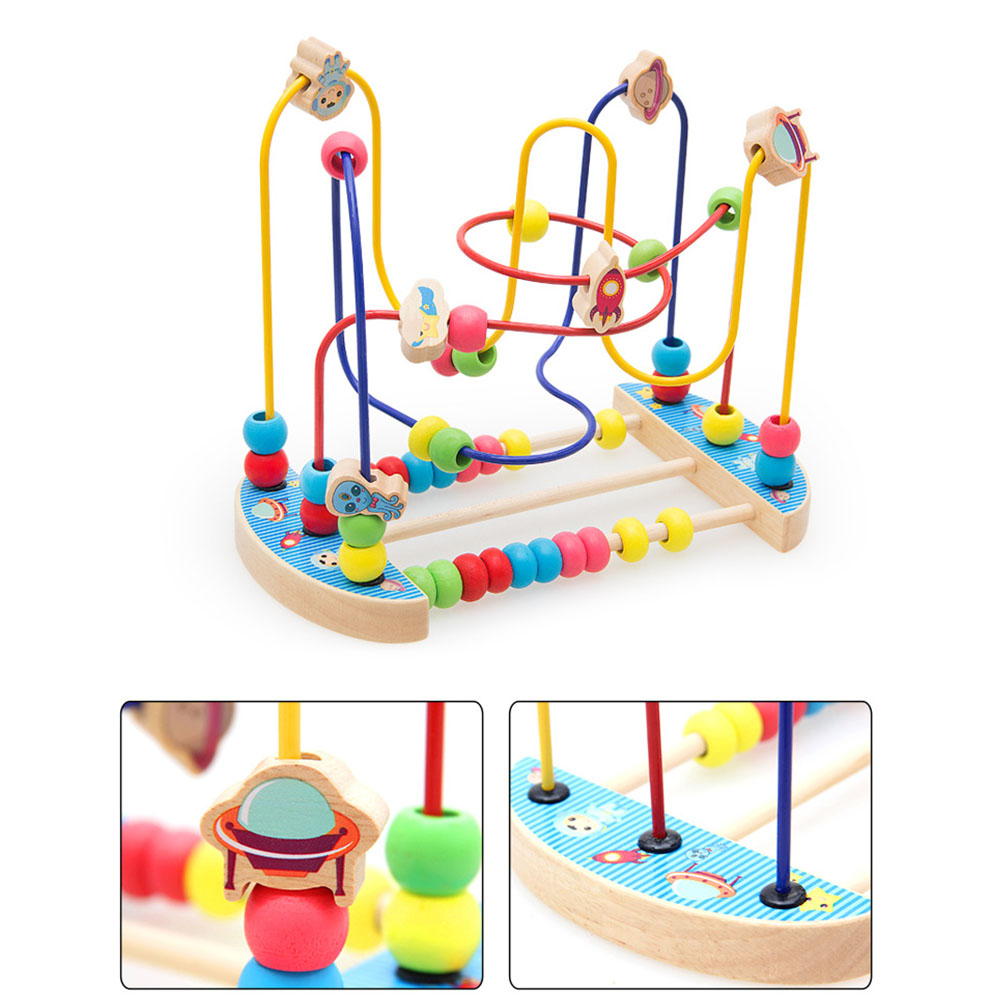 Baby Toys Colorful Bead Maze Child Educational Toy Wooden Animal Fruit Blocks Building Blocks Toy Gift Model Building Kits 3