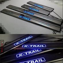 Car Accessories For Nissan X-Trail Door Sill With LED Scuff Plate Door Sills Pedal Guard Protector Car Styling Stisker 2014 2015(China)