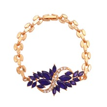 Luxury Navy Blue Crystal Bracelet Girl's Pretty Jewelry For Wedding Special Flower Design Zinc Alloy Banquet Bracelet