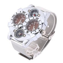 Shiweibao Stainless Steel Military Army Compass Thermometer Quartz Wrist Watch