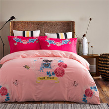 Svetanya Red Rose Embroidered Bedding Sets Queen King Size Bedlinen 100% Egyptian Cotton Quilt Cover Set(China)